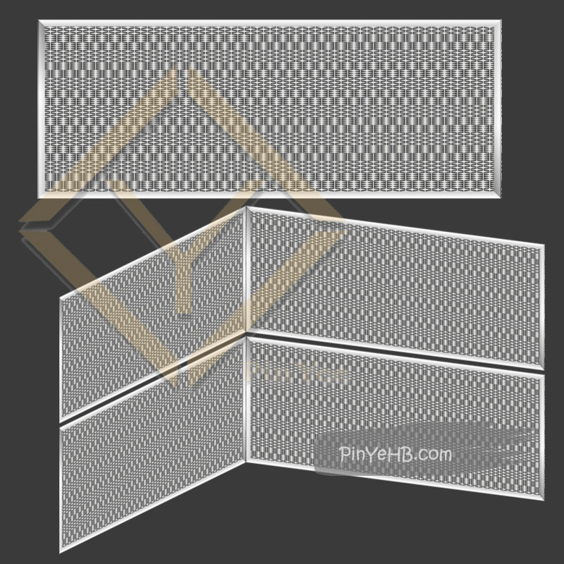 how to install the woven metal mesh panel on the Mall interior wall